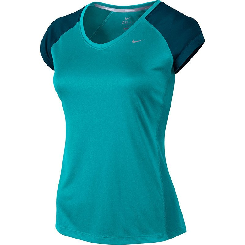 3ed84ad06 ... koszulka do biegania damska NIKE MILER SHORTSLEEVE V-NECK TOP /  519831-383. 1. 2. 3. 4. PrevNext. Kliknij na zdjęcie, aby je powiększyć