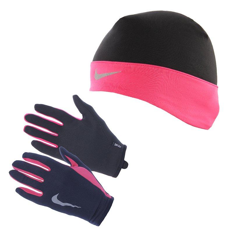 rękawiczki i czapka do biegania damskie NIKE RUN DRI FIT BEANIEGLOVE SET NRC01 067