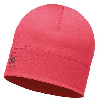 czapka do biegania BUFF MERINO WOOL 1 LAYER HAT BUFF SOLID PINK HIBISCUS / 113013.408.10
